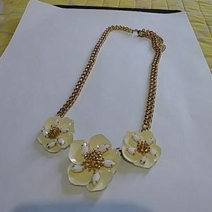 Gold and white artisan flower statement necklace